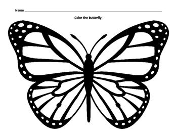 Color A Butterfly Fine Motor Skills Assessment Bulletin Board Idea Printable 1 Page Butterfly Clip Art Butterfly Outline Butterfly Stencil