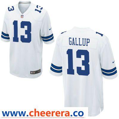 sale retailer 9f1f0 de541 Men's Dallas Cowboys #13 Michael Gallup White Road Stitched ...