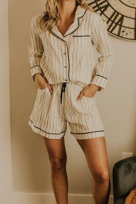 Striped Pajama Top - Sleepwear Sets For Women Pajama Top, Pajama Shorts, Cute Pajama Sets, Pajama Outfits, Cute Outfits, Cozy Pajamas, Summer Pajamas, For Elise, Purple Lingerie