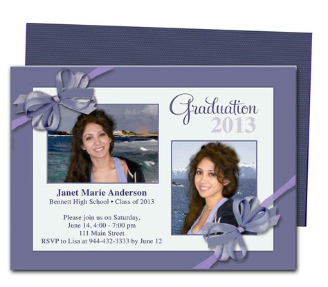 Printable DIY Grad Announcements : Shiloh Ribbon Bow Design Graduation Party or Announcement Template Design. Editable with Word, Publisher, Apple iWork Pages, OpenOffice.