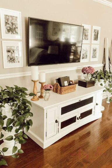 Decorate Around A Tv Using 4 Easy Steps In 2021 Farm House Living Room Living Room Tv Wall Decorate Around A Tv