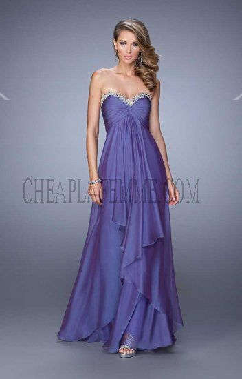 La Femme 21374 Dark Periwinkle Strapless Layered Long Prom Dress