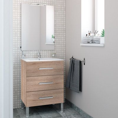 Mueble Baño Madrid Roble 80 X 40 Cm Leroy Merlin Muebles De Lavabo Muebles De Baño Muebles