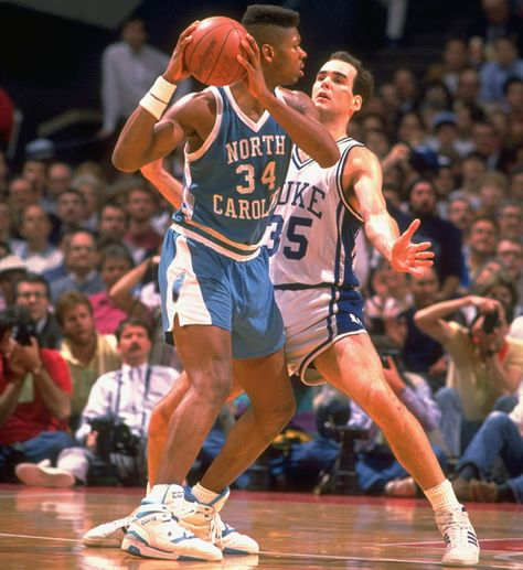 J.R. Reid vs. Duke's Danny Ferry in the 1989 ACC final, one of the best games in ACC history (SI photo).