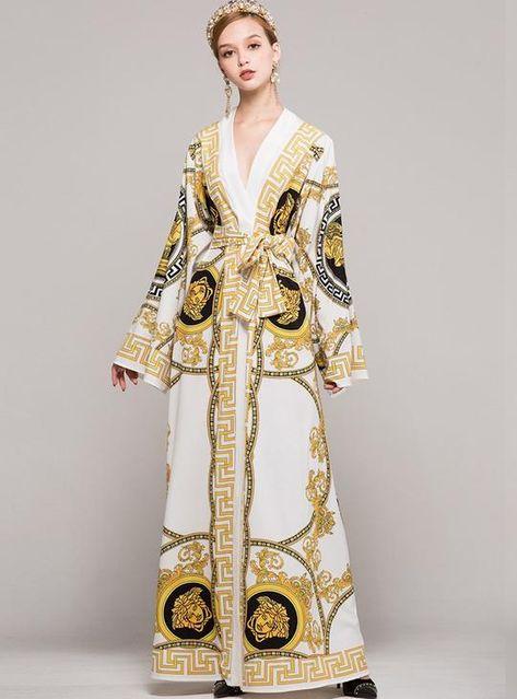 Court Print V-Neck Belted Maxi Dress – modewish beautiful maxi dress, maxi dress style,maxi outfit ideas, printed maxi dress, maxi dress fall outfit