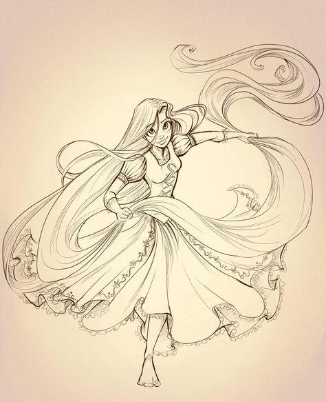Rapunzel Lineart by sharkie19