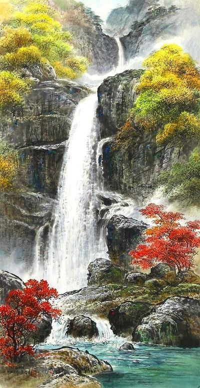 North Korea Waterfalls In Autumn By Mun Jeong Ung 1944 Korean Brush Watercolor Chinese Landscape Painting Chinese Landscape Waterfall Paintings