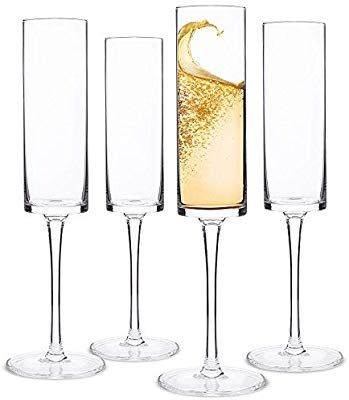 Amazon Com Champagne Flutes Edge Champagne Glass Set Of 4 Modern Elegant Gift For Women Men Fun Wine Glasses White Wine Glass Set Unique Wine Glasses