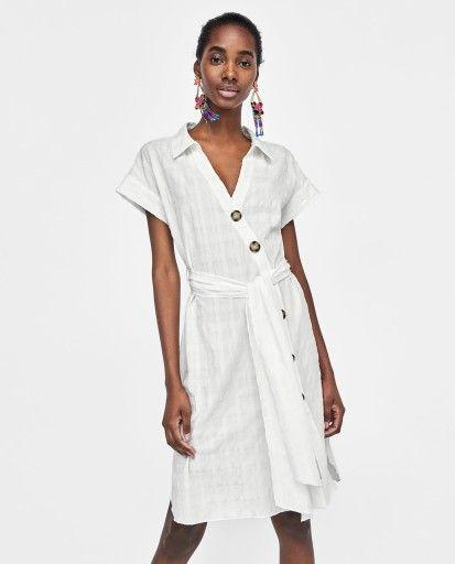 Zara Koszulowa Sukienka Z Guzikami M 38 Shirt Dress Clothes Shirts