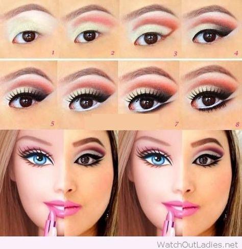 Halloween Barbie makeup
