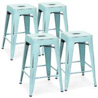 Magnificent Flash Furniture 24 High Backless Distressed Metal Indoor Machost Co Dining Chair Design Ideas Machostcouk