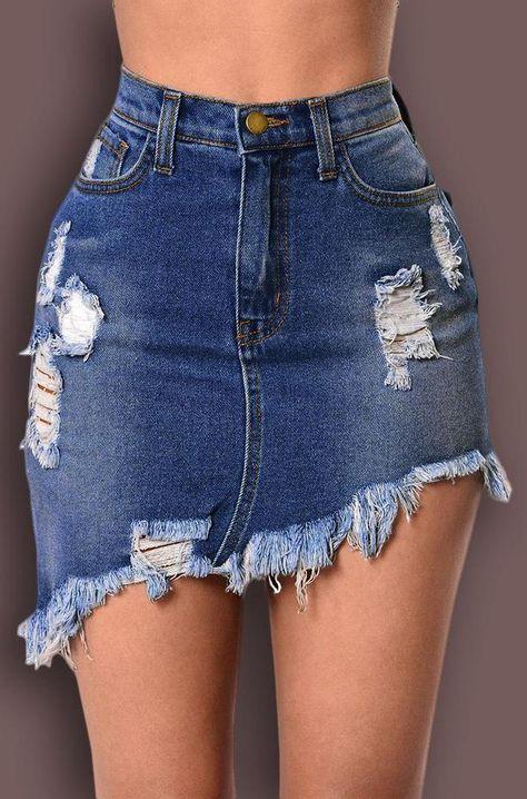 High Waist Ripped Fringe Hem Irregular Denim Skirt (ad)