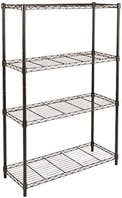 Amazon Com Amazonbasics 4 Shelf Shelving Storage Unit Metal Organizer Wire Rack Black Home Kitchen Shelves Wire Shelving Units Wire Shelving