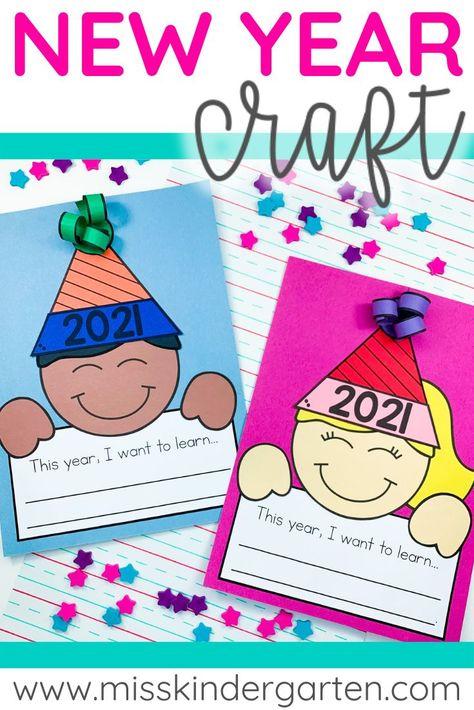 Miss Kindergarten, Kindergarten Writing, Kindergarten Activities, Writing Activities, Craft Activities, Educational Activities For Kids, New Years Activities, Winter Activities, New Year's Crafts