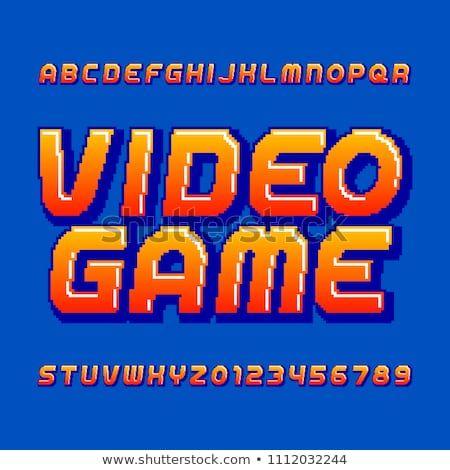 Retro computer game alphabet font  Pixel gradient oblique