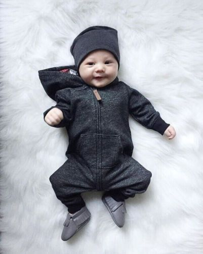 Hooded Infant Outfits Clothes Romper Bodysuit Jumpsuit Boy Girl Newborn Baby