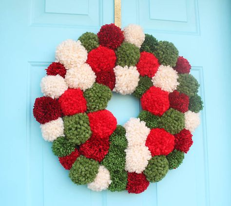Make a great door decoration with this pom pom wreath inspired by one seen in stores. Check out the tutorial by @_ginamichele_