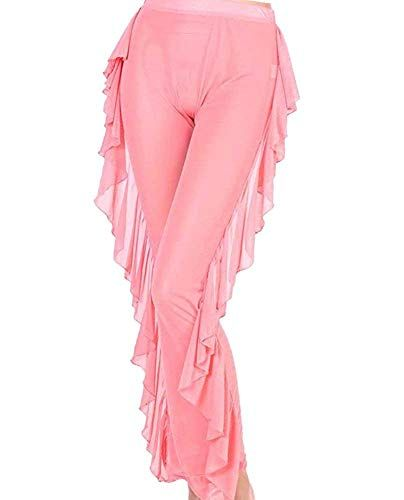 Willow Dance Womens Perspective Sheer Mesh Ruffle Pants Swimsuit Bikini Bottom Cover up Pants