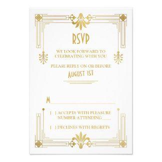 Art Deco Roaring 20s Gold White Wedding RSVP Card