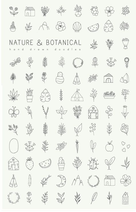 Hand drawn nature & plants doodles by Crocus Paperi - free good of the week 28/05/2018