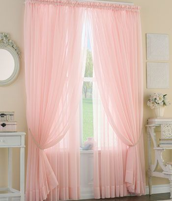 Sheer voile curtains in soft pink filters light  through your windows from Country Curtains.