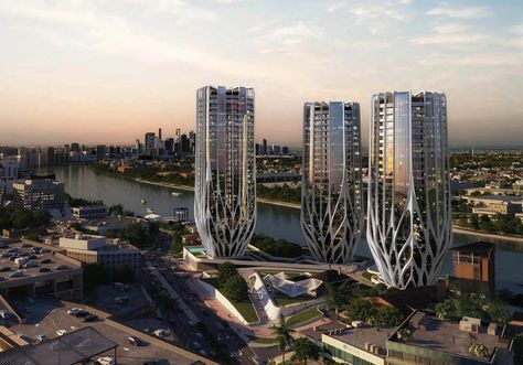 Zaha's New Towers are Controversial 'Champagne Flute' Triplets - Zaha! - Curbed National