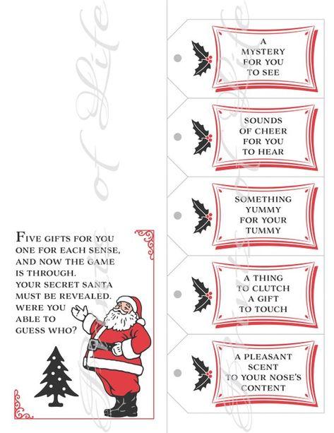 Five Senses Gift Tags & Card. Secret Santa exchange. Instant download printable. 5 Christmas present