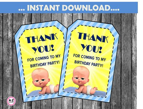 Boss Baby Favor Tags Instant Download Thank You Tags