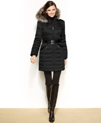 DKNY Hooded Faux Fur Trim Belted Down Puffer Coat | Black