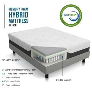 Lucid 12 In King Bamboo Charcoal And Aloe Vera Hybrid Mattress Lubb12kk38bh The Home Depot Hybrid Mattress Mattress Plush Mattress