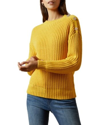 Ted Baker Whtnee Button Detail Sweater Women Bloomingdale S Yellow Cable Knit Sweater Cable Knit Sweater Outfit Detailed Sweater
