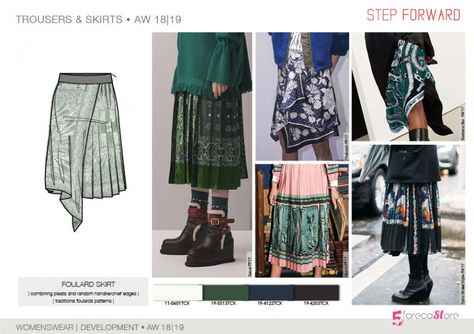 FW 208-19 Trend forecast: FOULARD SKIRT, traditional foulard patterns, development designs by 5forecaStore Fashion trend forecasting.