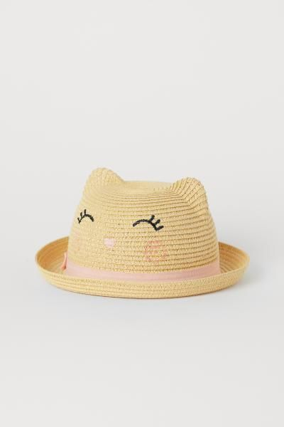 8e61306a6 Straw Hat with Ears | Baby Girl Style File | Ear hats, Kids outfits ...