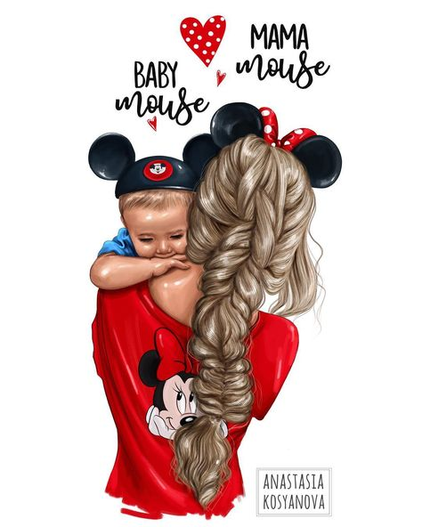 "Anastasia Kosyanova on Instagram: ""Mama Mouse❤️ & Baby Mouse❤️ Commissioned illustration  Inspired by @amberfillerup 💙🌸 #nastyakosyanovaart #настявтворчестве #art #artist…"""