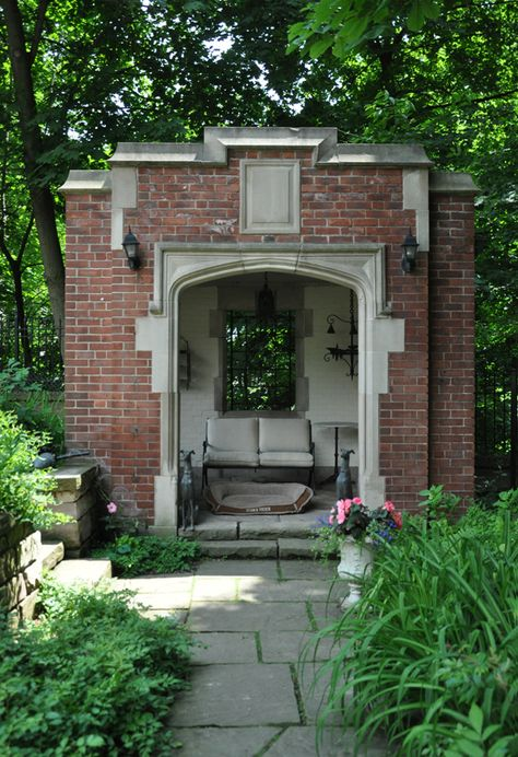 A path leads visitors along the edge of the ravine to a small brick folly... Three Dogs in a Garden Blog