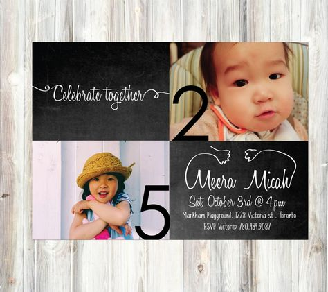 Celebrate together Sibling Chalkboard - birthday invitation - Digital printable -black and white- personal photo - Sibling birthday#Chalkboard #SiblingBirthday #BlackAndWhite #PersonalPhoto #PhotoPostcard #PhotoInvitation #Brothers #Sisters #BoyBirthday #GirlsBirthday #SimpleInvitation #Photographs #CelebrateTogether