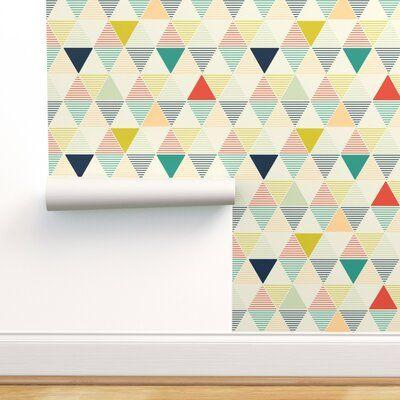 George Oliver Irish Triangle Removable Wallpaper Panel Size 108 L X 24 W Peel And Stick Wallpaper Wallpaper Panels Hexagon Wallpaper