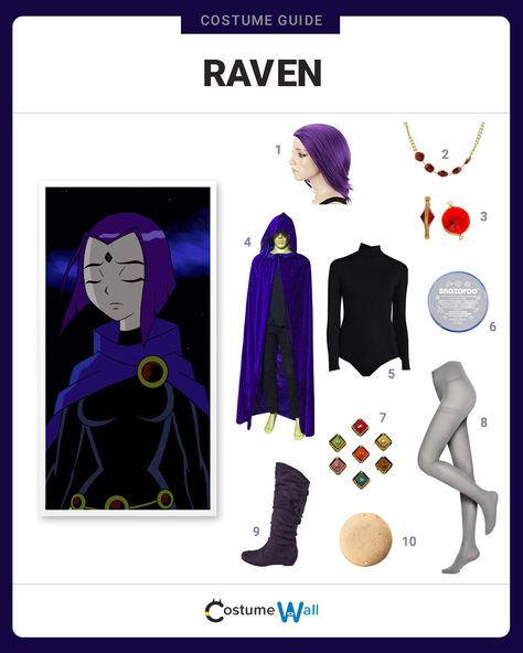 Get the cosplay outfit like Raven a member of the DC Comics superhero group Teen Titans on Cartoon Network.
