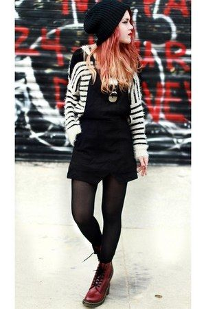 Lua P- One of my favourite looks- Consists of overall dress and the fluffy thick striped jumper which is a texture contrast. Cherry red doc martens brings that pop of colour in this outfit.