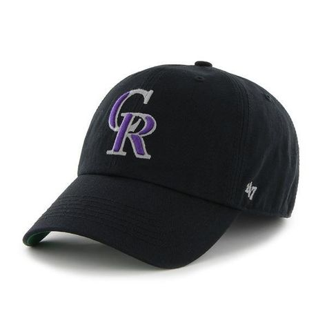 f260abc030b Colorado Rockies 47 Brand Franchise Black Purple CR Logo Script Back Hat Cap