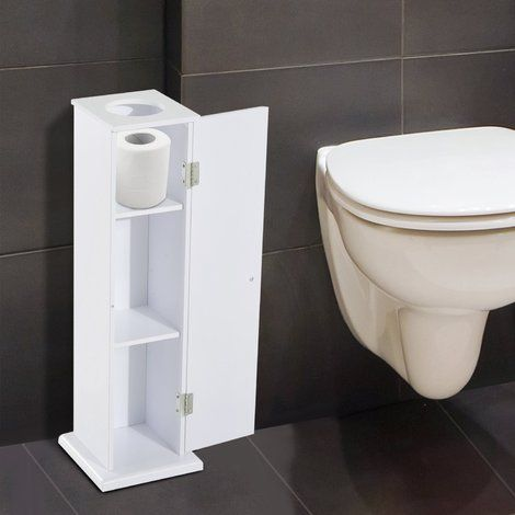 Homcom Toilet Roll Storage Cabinet Tissue Paper Holder Storage White 834078 Bathroom White Shelves Tissue Paper Holder Toilet