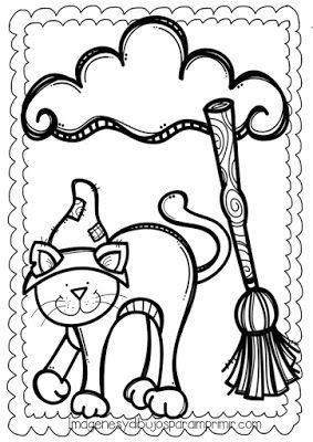 Dibujo De Halloween Escoba Y Gato De Bruja Para Colorear Halloween Art Diy