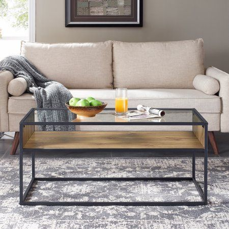 Mainstays Atmore Industrial Glass And Wood Coffee Table Walmart Com Coffee Table Coffee Table Wood Wood Coffee Table Living Room