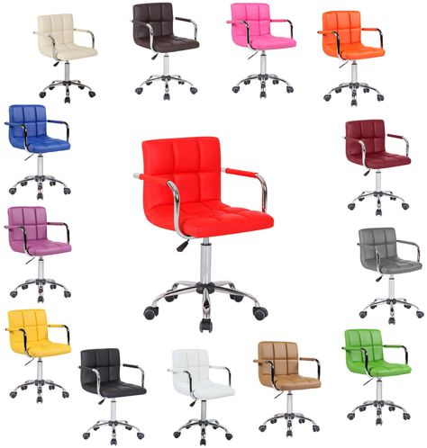 Swivel PU Leather Cushioned Chair Computer Office Desk Studio Salon Barber UK