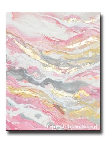 Original Art Abstract Painting Pink White Grey Beige Gold Leaf