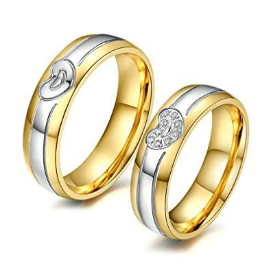 Engagement Rings For Couples With Names Engagement Rings For Couples In Grt Couple Engagement R Engagement Rings Couple Heart Wedding Rings Steel Wedding Bands