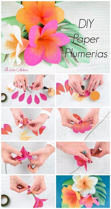 Learn how to make these tropical plumeria Hawaiian paper flowers. You can hand cut these with the free PDF template or use the SVG cut files with your Cricut machine! Diy Paper, Paper Crafts, Diy Crafts, Origami Paper, Design Crafts, Flower Crafts, Diy Flowers, Diy Fleur, Crepe Paper Roses