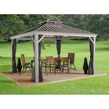 Messina Sun Shelter In Champagne Aluminum Gazebo Backyard Pavilion Backyard Gazebo