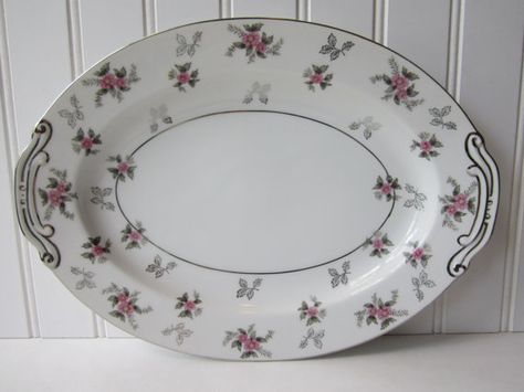 Vintage Japan China Rosemere Pink Gray Floral Oval by thechinagirl