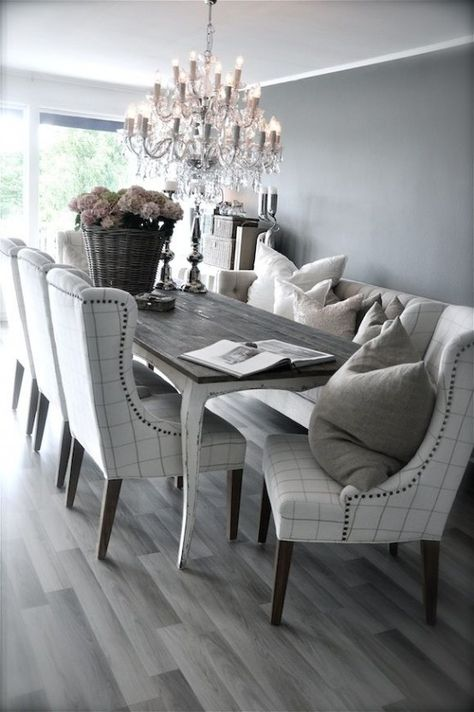 Neutral Dining Room Design. Love the use of grey for neutral tone ...